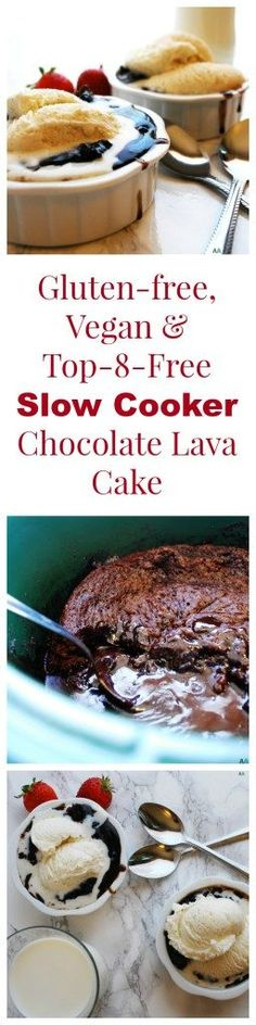 Slow Cooker Chocolate Lava Cake (Gluten, dairy, egg, soy, peanut and tree nut free; top 8 free; vegan) Dessert recipe by http://AllergyAwesomeness.com
