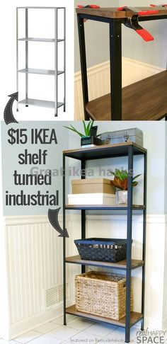How to turn IKEA industrial -- from a cheap shelf to a beautiful wood and metal industrial style shelf Real Happy Space on Remodelaholic .comInformations About How to turn IKEA industrial -- from a cheap shelf to a beautiful wood and metal . Metal Industrial, Industrial Interior Design, Industrial Shelving, Diy Interior, Industrial Style, Industrial Furniture, Rustic Furniture, Industrial Stairs, Industrial Living