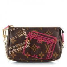This is an authentic LOUIS VUITTON Monogram Christmas Animation Mini Pochette Accessories. This chic pochette is crafted of signature Louis Vuitton monogram on toile canvas and features an illustration of classic Louis Vuitton trunks.