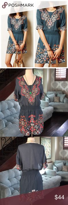"👗🌷❤️Anthropologie adorable dress 👗❤️ Gorgeous blue with amazing embroidery detail dress by Anthropologie so comfy and cute on in soft viscose fabric 🌷in excellent condition ♥34"" shoulder to hem Anthropologie Dresses"