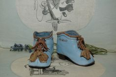 """Beautiful leather shoes for Jumeau Bru Steiner  doll 3 - 1/2"""" (90 mm)"""