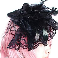 Black Beaded Lace Goth Headdresses Headpieces SKU-11403040