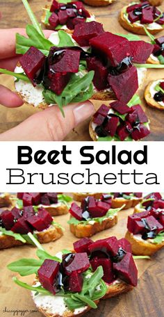 Beet Salad Bruschetta - Perfect for a healthy outdoor summer dinner or appetizer to share with friends. | Chicago Jogger #Ad