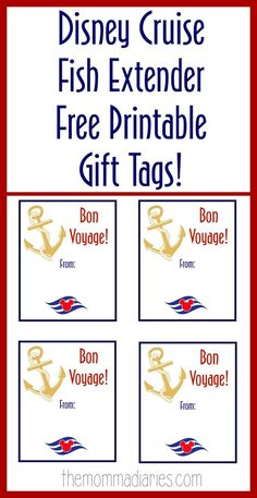 Disney Cruise Fish Extender Printable Gift Tags, Fish Extender Printable