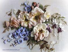 Fuchsias, Roses & Delphiniums ribbon embroidery by Kristina Nilsson