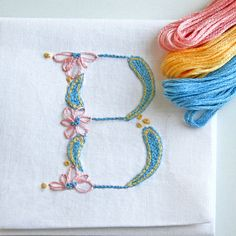 DIY pdf Crewel Embroidery Pattern Monogram B is by PrairieGarden Embroidery Designs, Crewel Embroidery Kits, Embroidery Letters, Embroidery Needles, Learn Embroidery, Ribbon Embroidery, Machine Embroidery, Embroidery Books, Embroidery Tattoo