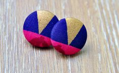 Chic Triangle Button Earrings Gold Triangle by ZenCustomJewelry
