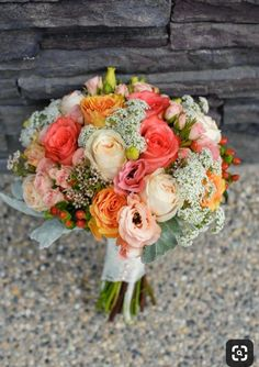 vintage inspired bouquet of coral peach and cream colored flowers. my bouquet minus the baby's breath Floral Wedding, Wedding Colors, Wedding Bouquets, Wedding Flowers, Wedding Vintage, Flower Bouquets, Rustic Wedding, Purple Bouquets, Bridesmaid Bouquets
