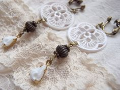 Earring Vintage White Color Lace Beads And by KanaBeadsGarden, $10.00