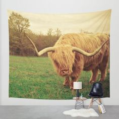 Scottish Highland Steer - regular version Wall Tapestry by Olivia Joy StClaire.animal portrait, large wall art, rustic decor, dorm decor
