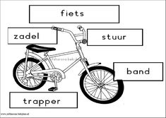 stempelblad de fiets Transportation Activities, Letter F, School Themes, International Day, About Me Blog, Bicycle, Vehicles, Esports, Kids
