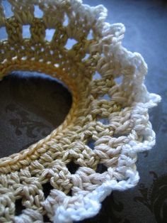 lace snip necklace by Even Howard crochet handmade and by nadene