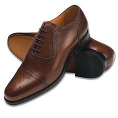 Brown Clarence calf semi-brogue | Men's business shoes from Charles Tyrwhitt, Jermyn Street, London