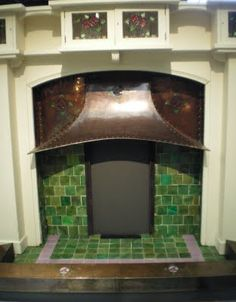 Fabulous Craftsman Charles Rennie Mackintosh fireplace with copper hood!