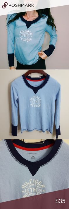 Tommy Hilfiger | blue loose fit thermal top | M In excellent condition! Tommy Hilfiger thermal loose fit top, size medium. Soft and cozy! Used item: pictures show any signs of wear. Bundle up! Offers always welcome:) Tommy Hilfiger Tops