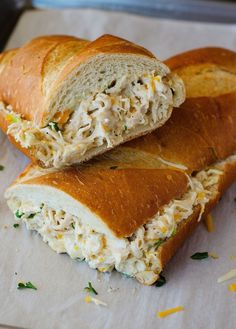 Chicken Stuffed French Bread is tasty and fullfiling. For my personal preference, I usually will add a smashed hard boiled egg....^^ Recipe saved from Living In The Lofthouse.