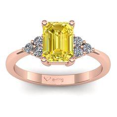 Inel logodna L142RSG cu safir galben si diamante