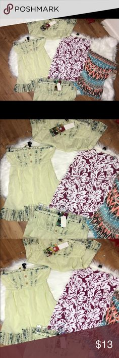 Junior bundle 5 pcs os shirts 3 greens 2 xs and 1 small 1 large and 1 small everything new with tags Tops Blouses
