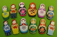 Wooden Russian Dolls - Collection of 12 Wood Laser Cut Pieces - Art Parts for Crafters