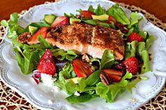 Salmon, Strawberry & Goat Cheese Salad