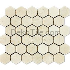 Crema marfil 2 inch hex mosaic tile. I think this is tile I'd like for our master bathroom floor.