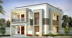 4 bedroom flat roof house in two different paintings in an area of 2085 square feet by Harijith S R, Kollam, Kerala. Simple House Design, House Front Design, Modern House Design, Duplex Design, Flat Roof House, Tiny House Loft, Duplex House, Morden House, 2 Storey House Design