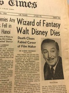But still lives on through his stories Newspaper Front Pages, Old Newspaper, Walt Disney World, Disney Pixar, Walt Disney Facts, Disney Love, Disney Magic, Walter Elias Disney, Cultura General