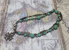Bracelet, Turquoise, Czech Glass, Rosary Chain, Boho, Vintage Style, Beaded Chain, Glass Beads, Filigree, Brass Chain, Bronze, Cross, Charm