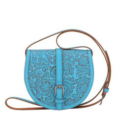 Loving this Blue Embossed Leather Crossbody Bag on #zulily! #zulilyfinds