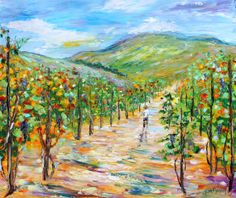 Original oil painting Wine Country California Vineyard on canvas by Karen Tarlton impressionism impasto palette knife fine art