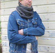 Convertible hand knit buttoned scarf cowl in gray, unisex design. © Original design by Tetiana Otruta.  Combination of 3 different two color patterns creates an asymmetric color change illusion and create a personal, unique look every time it is worn.  Functional buttons give many options of wearing this scarf and transform it into a cowl.  This scarf cowl is good addition to any outfit and cozy fall / winter accessory.  The scarf is made from 100% wool yarn in dark gray and medium gray ...