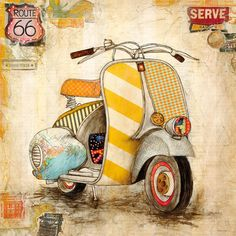 Jennifer-Wagner-Galavanting-Around-I-Keilrahmen-Bild-Leinwand-Vespa-Motorroller - All together (decoupage, prints, vintage) - Auto Decoupage Vintage, Decoupage Paper, Vintage Diy, Vintage Vespa, Painting Frames, Painting Prints, Wall Art Prints, Vintage Pictures, Vintage Images