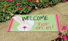 Amazon.com: Hop On In Bunny Welcome Door Mat: Patio, Lawn & Garden