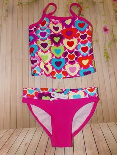 Girl's Angel Beach Tankini Set Multicolored Hearts Swimwear Size 4  | eBay