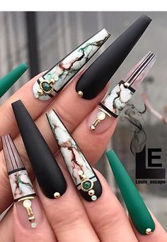 Coffin Nails Designs Trends Nail Art Ideas 2019 – Page 21 of 58 – hairstylesofwomens. com – nails. Dope Nails, Bling Nails, My Nails, Fall Nails, Summer Nails, Nail Swag, Beautiful Nail Designs, Cute Nail Designs, Gorgeous Nails