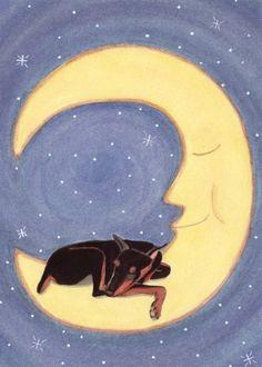 Doberman pinscher sleeping on moon / Lynch by watercolorqueen, $12.99