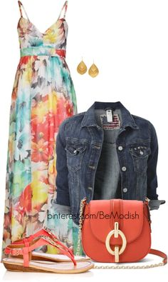 25 Maxi Dress Outfits Polyvore Combinations - Be Modish ~ Floral Maxi, Denim Jacket, Sandals and Chain Purse...Pretty and Comfy!