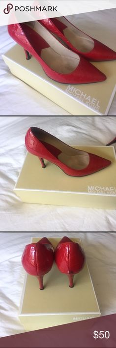 Michael Kors red crocodile pumps Red, crocodile, patent leather pumps.  Gently warn, stored in original box.  From smoke free home Michael Kors Shoes Heels