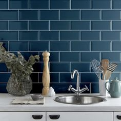 Metro Atlantis Blue Gloss Bevelled Edge Box/sqm 50 Tiles a Box) for sale Metro Tiles Kitchen, Metro Tiles Bathroom, Blue Kitchen Tiles, Blue Tiles, Wall Tile Adhesive, Ceramic Wall Tiles, Wall And Floor Tiles, Color Tile, Decoration
