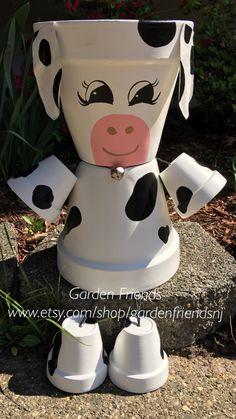 Clay Pot People, COW Farm Animal, Flower Pot People, Clay Pot People Planters, Cow Collector by GARDENFRIENDSNJ on Etsy https://www.etsy.com/listing/201355102/clay-pot-people-cow-farm-animal-flower