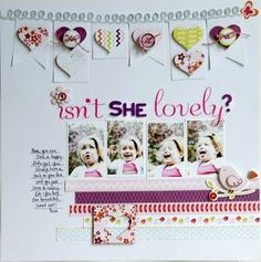 isn't she lovely layout by jill cornell. pebbles happy go lucky collection.