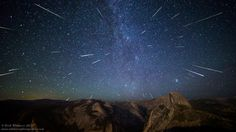 Perseids blazing over Yosemite's Half Dome, photo by Rick Whitacre Astronomy Science, Space And Astronomy, Yosemite National Park, National Parks, Perseid Meteor Shower, Dental Plans, Diabetes Treatment Guidelines, Diabetic Dog, Dog Snacks