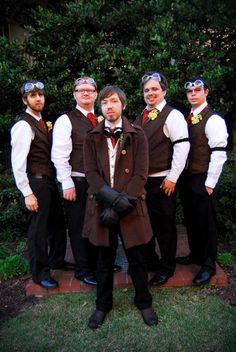 Steampunk wedding men Steampunk Wedding Themes, Steampunk Theme, Steampunk Men, Victorian Steampunk, Steampunk Costume, Gothic Wedding, Steampunk Fashion, Fantasy Wedding, Casual Wedding
