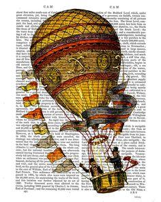 Vintage Hot Air Balloon Gold with Flags, Digital Art Print Illustration Mixed Media Original Print wall art wall decor wall hanging