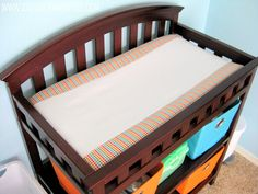 stayathomeartist.com: center stripe changing pad cover...