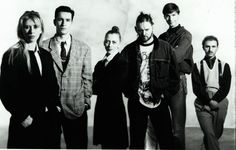Photograph by Karel Fonteyne. The Antwerp Six (L to R: Marina Yee,Dries Van Noten, Ann Demeulemeester, Walter Van Beirendonck, Dirk Bikkembergs, Dirk Van Saene) and Martin Margiela were the first generation of fashion students from the Antwerp Academy to rise to international success in 1986 (date of the picture).
