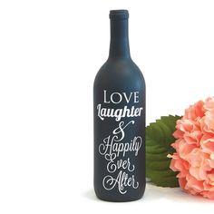 Happily Ever After Wine Bottle Vase Vinyl Decal for Wedding Centerpiece Decoration Wine Bottle Centerpieces, Wine Bottle Vases, Wedding Wine Bottles, Lighted Wine Bottles, Diy Bottle, Bottle Lights, Wine Bottle Crafts, Glass Bottles, Perfume Bottles
