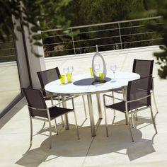 Stainless steel & sling outdoor furniture. www.avdesignsgarden.com