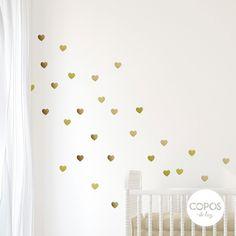 Vinilos decorativos con forma de Corazones Dorado Metalizado #vinilos #decorativos #infantiles #trama #deco #decoracion #vinilodecorte #corte #pared #corazon #dorado