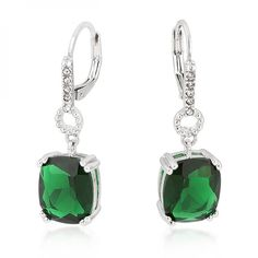 White Gold Rhodium Bonded Emerald Cubic Zirconia Drop Earrings with Clear Crystal Accents and Leverbacking in Silvertone. Feminine and elegant. #mycustommade
